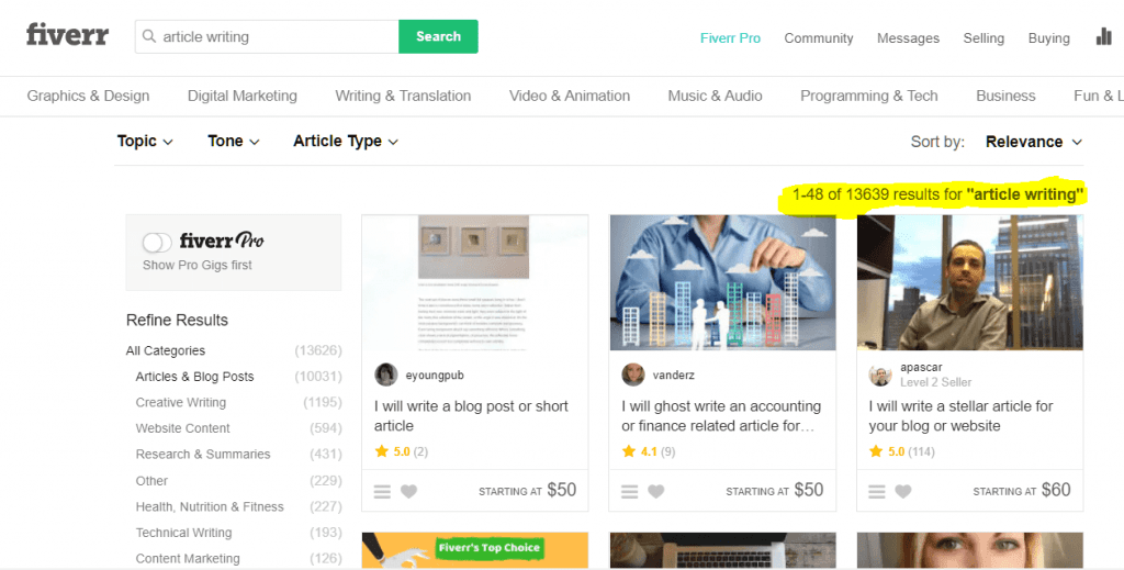 """Search Results for """"Article Writing"""" gigs on Fiverr"""