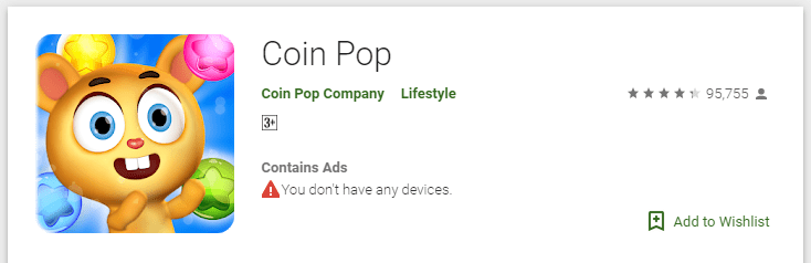 Coin Pop Playstore