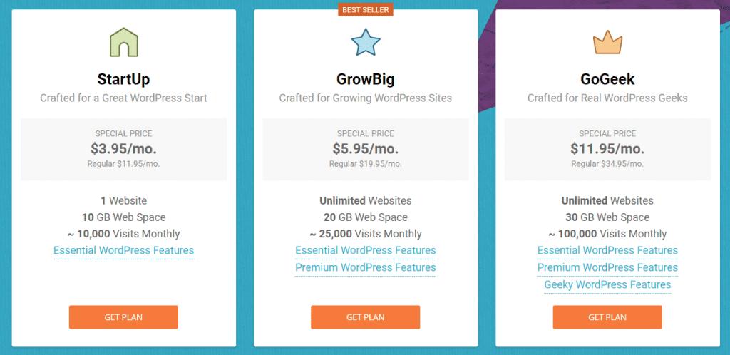 SiteGround Web Hosting Plans Comparision table