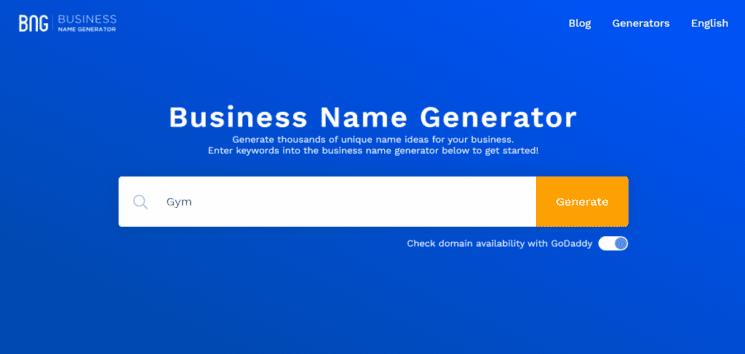Business Name Generator website for Fiverr Gig